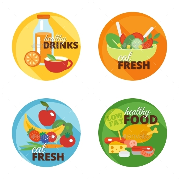 GraphicRiver Healthy Eating Flat Icons 10620469