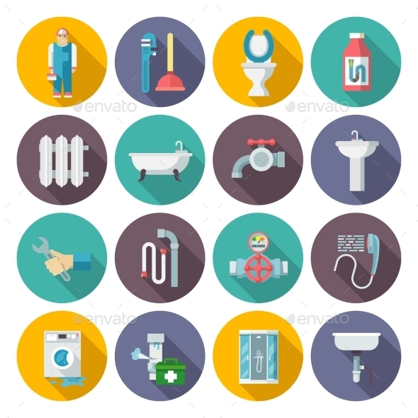 GraphicRiver Plumbing Icons Set 10620558