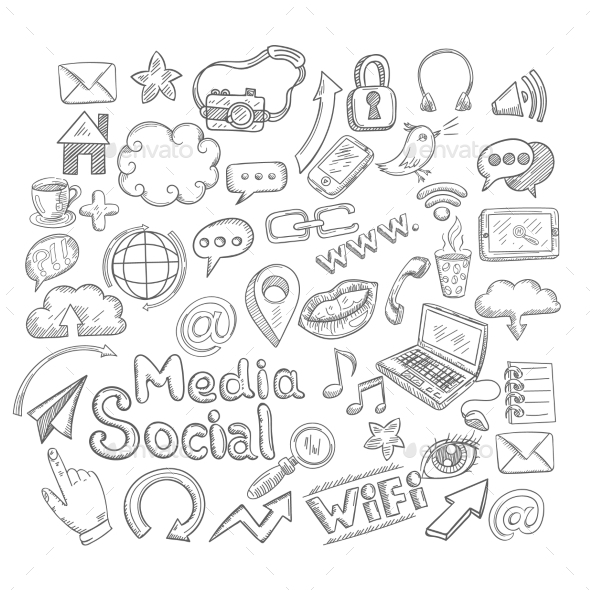 GraphicRiver Doodle Social Icons 10620597