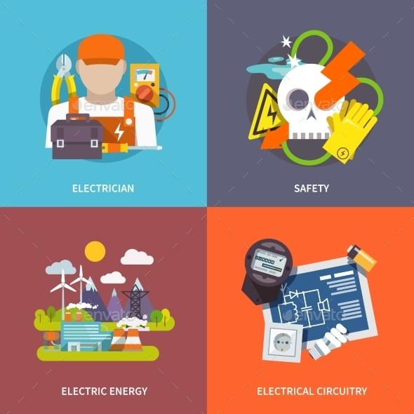 GraphicRiver Electricity Flat Set 10621001