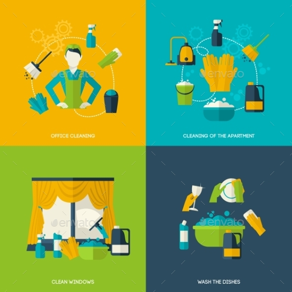 GraphicRiver Cleaning Flat Set 10621259