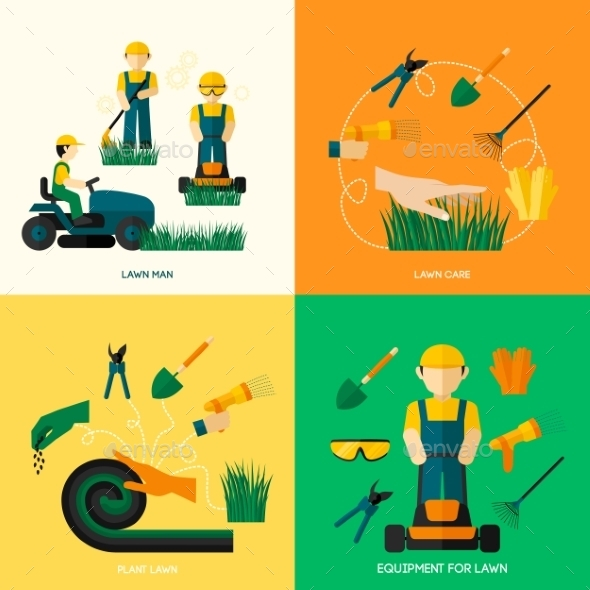 GraphicRiver Lawn Flat Set 10621266