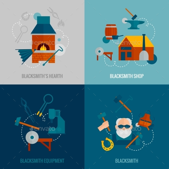 GraphicRiver Blacksmith Flat Set 10621311