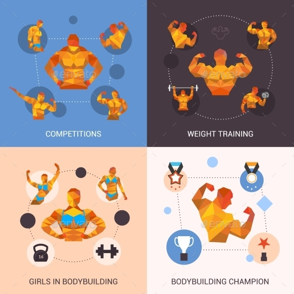GraphicRiver Bodybuilding Polygonal Set 10621438
