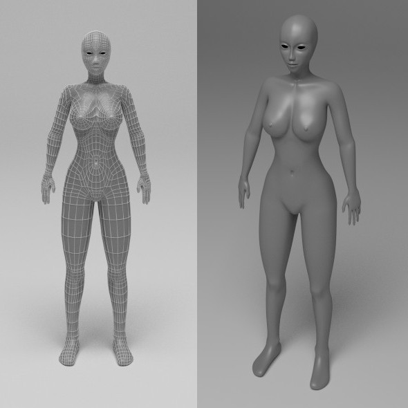 3DOcean Female Base Mesh Low Poly 10621493