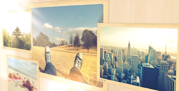 Photo gallery in a sunny room
