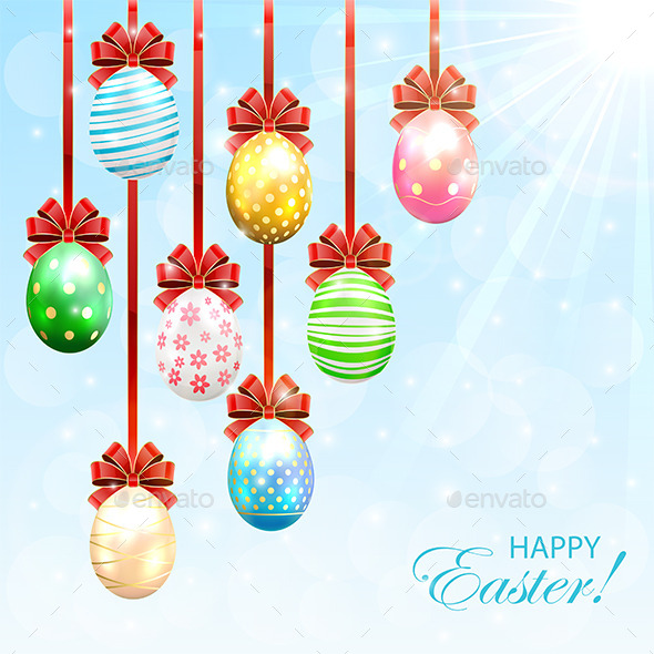 GraphicRiver Hanging Easter Eggs with Bow 10621600