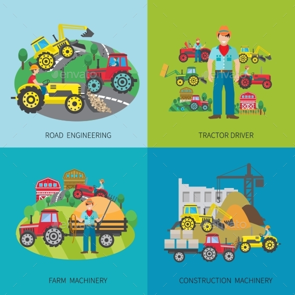 GraphicRiver Tractor Driver Flat Set 10621613