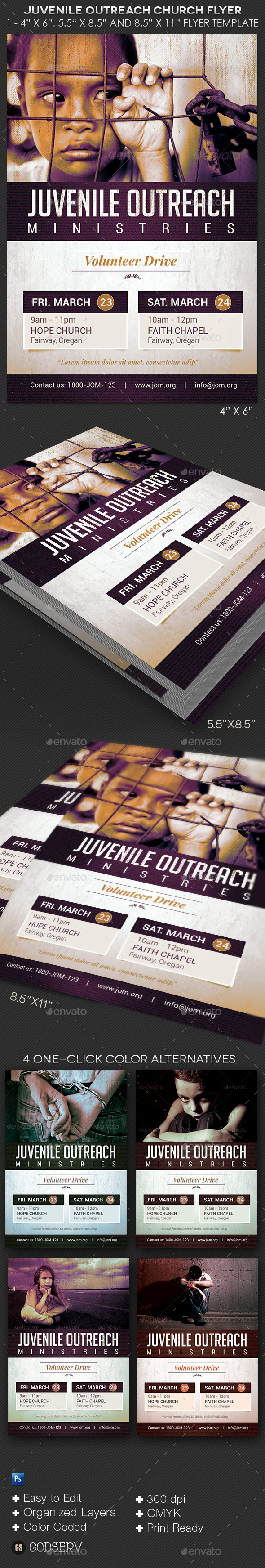 GraphicRiver Juvenile Outreach Church Flyer Template 10621709