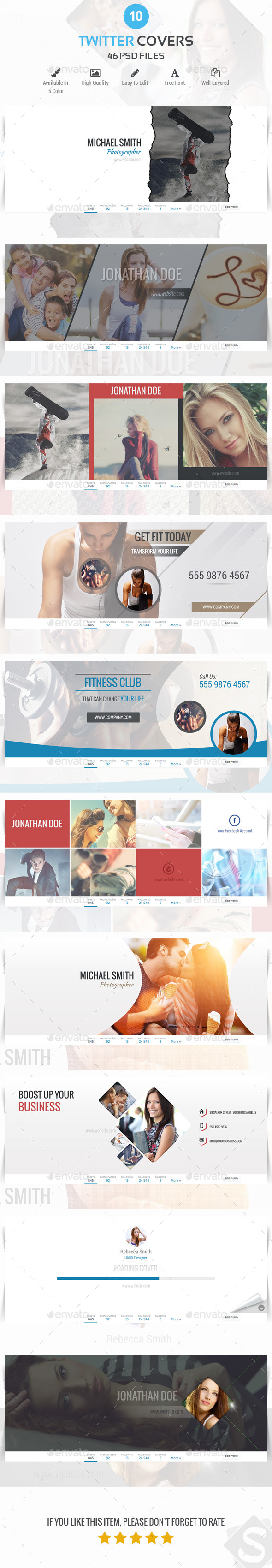 GraphicRiver 10 Twitter Covers 10622300
