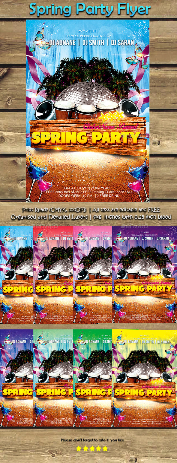GraphicRiver Spring Party Flyer 10623109