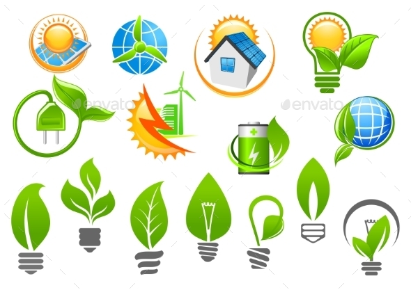 GraphicRiver Abstract Eco or Green Energy Icons 10623505
