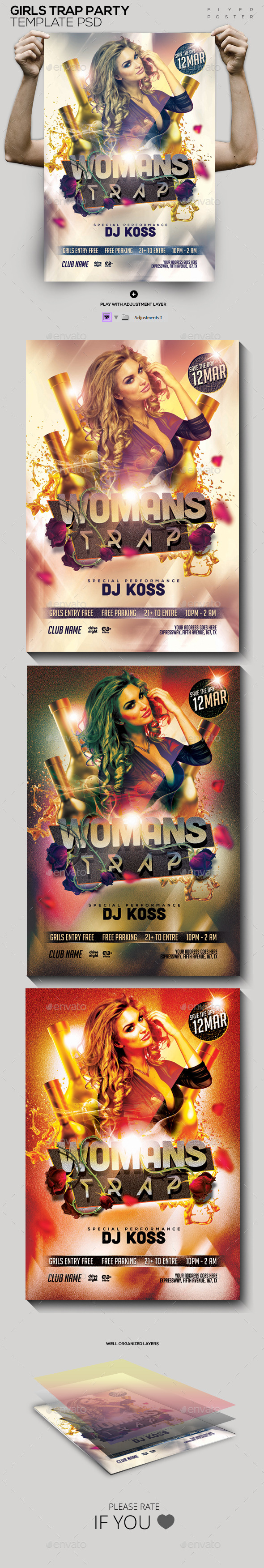 GraphicRiver Woman Trap Night Out PSD Flyer Poster 10623901