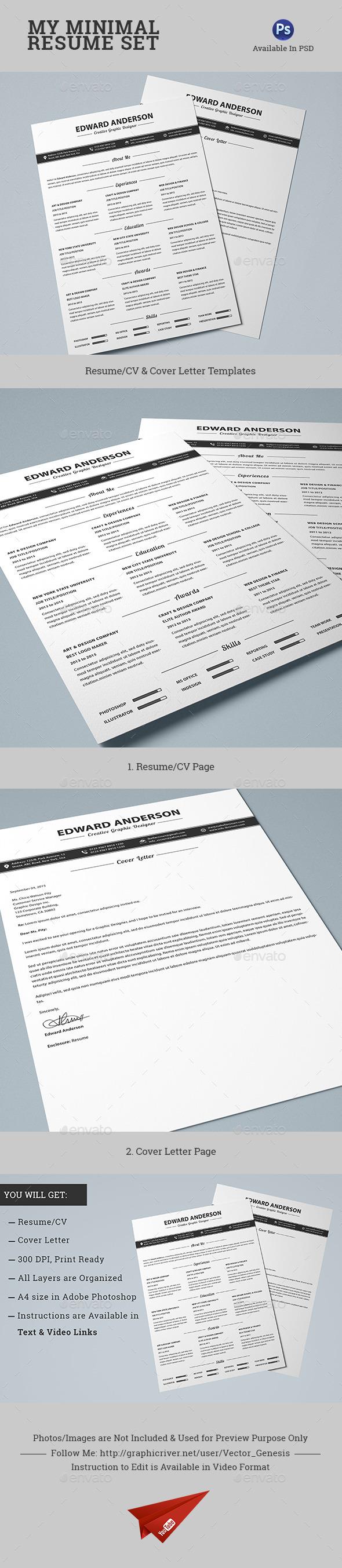 GraphicRiver 2 Pages Minimal Resume CV Set 10624192