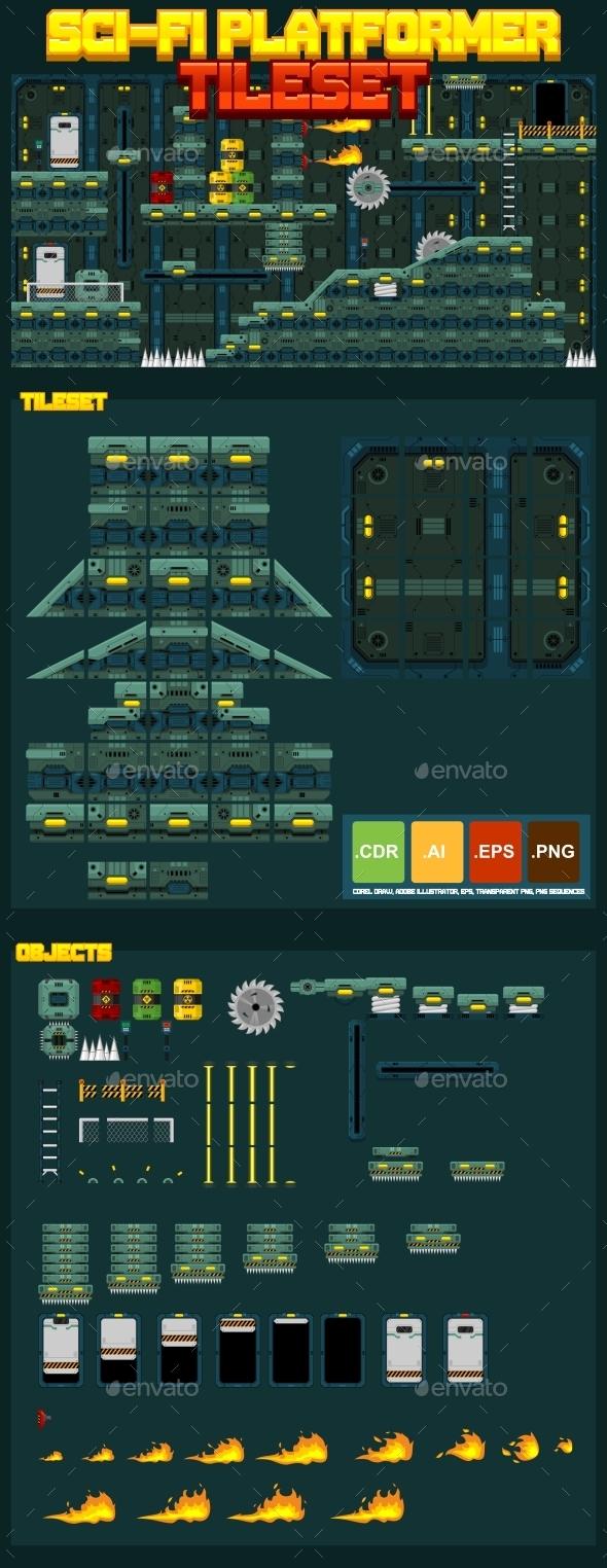 GraphicRiver Sci-Fi Platformer Tileset 10624517