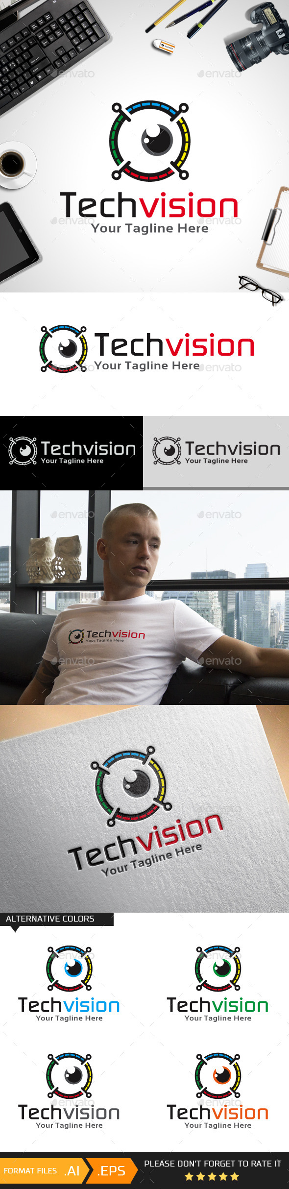 GraphicRiver Tech Vision Logo Template 10624547