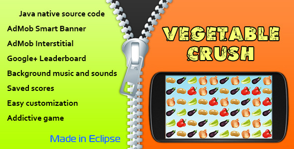 CodeCanyon Vegetable Crush with AdMob and Leaderboard 10519797