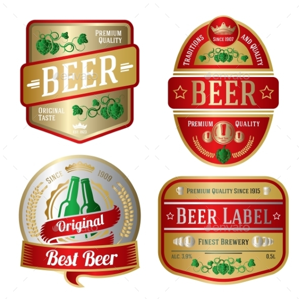 GraphicRiver Set of Beer Labels 10625452