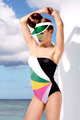 Stylish blond girl posing wearing  beachwear and sunshade - PhotoDune Item for Sale