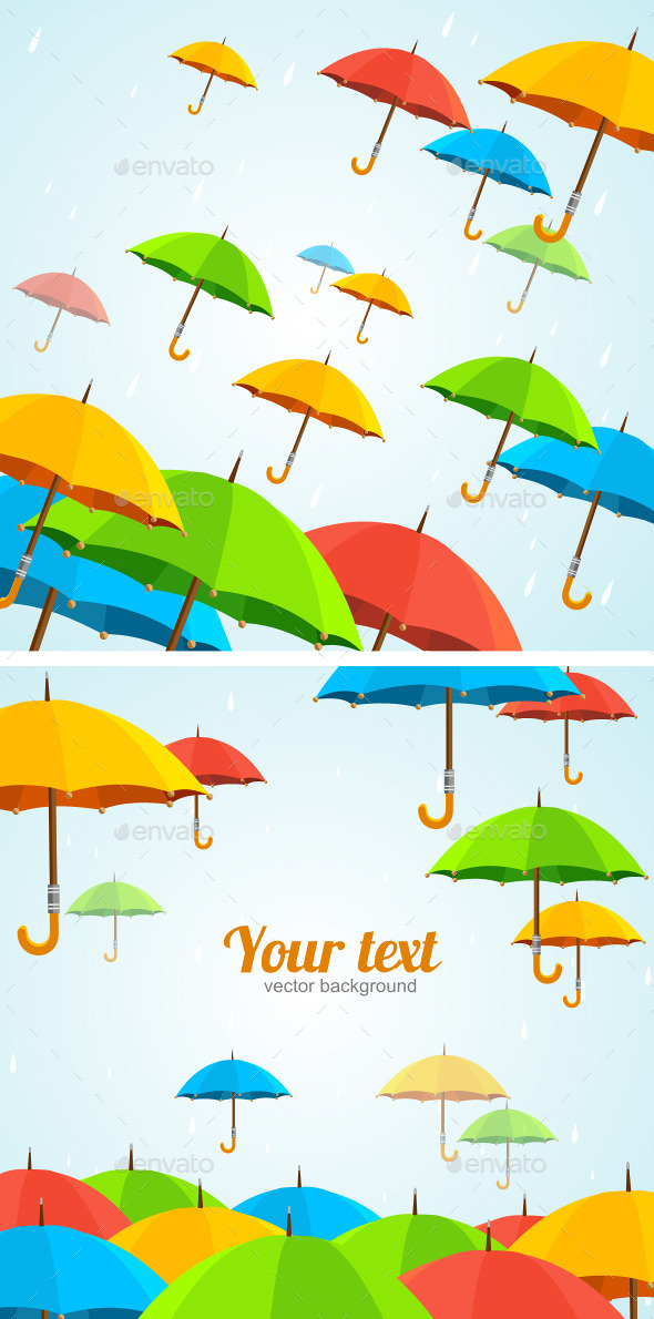 GraphicRiver UmbrellasFly Flat Design 10627066