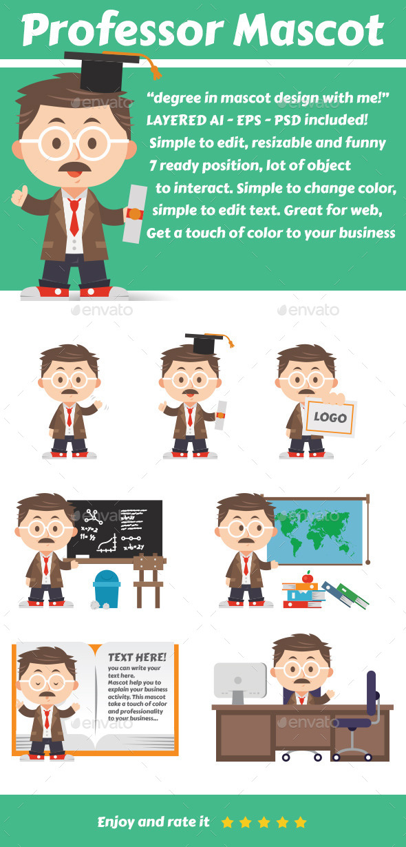 GraphicRiver Professor Mascot 10627285