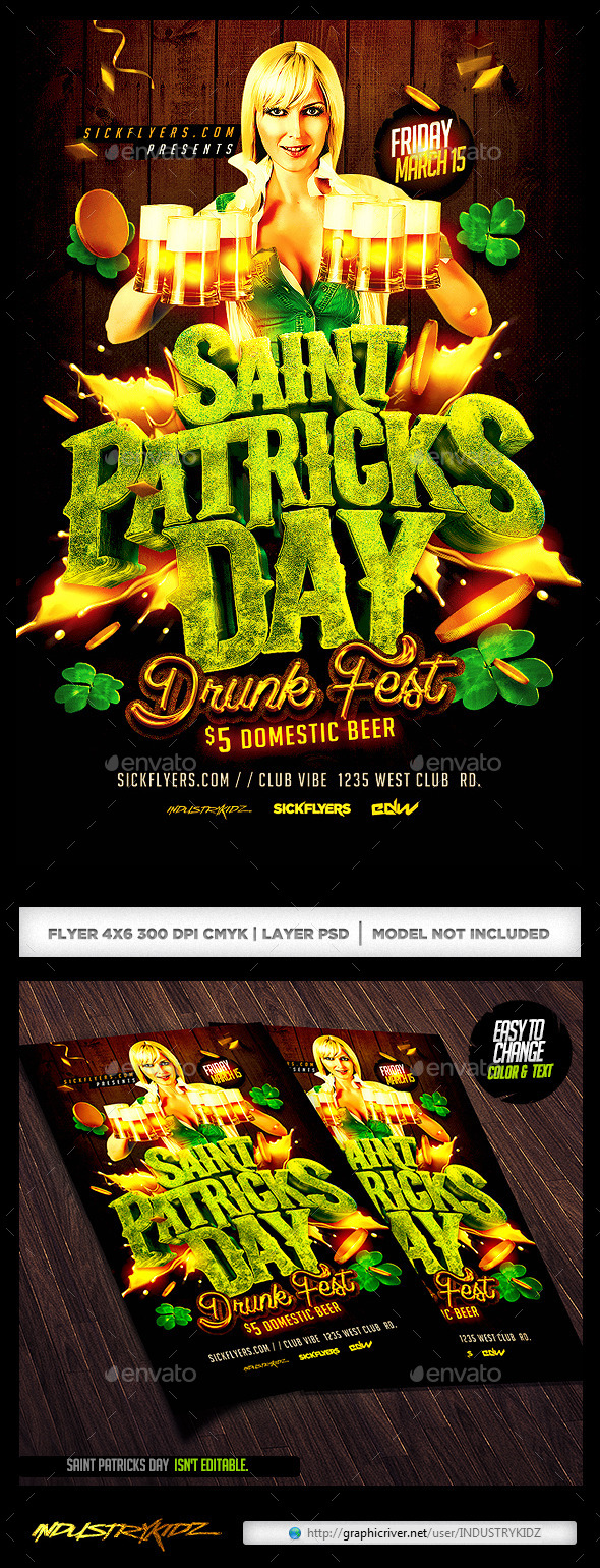 GraphicRiver St Patricks Day Drunk Fest Party 10627861