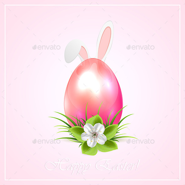 GraphicRiver Pink Easter Egg and Bunny Ears 10627891