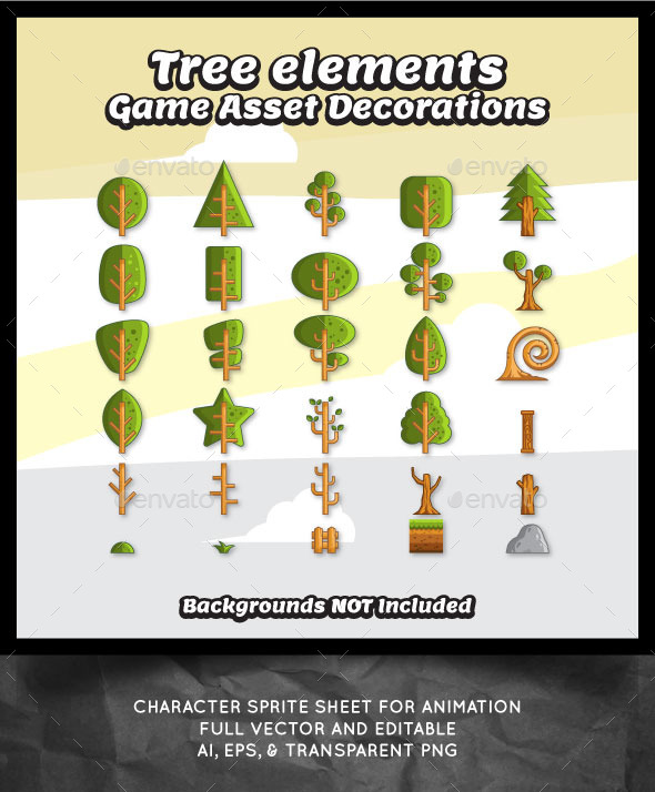 GraphicRiver Tree Vector for Game Decorations 10628182