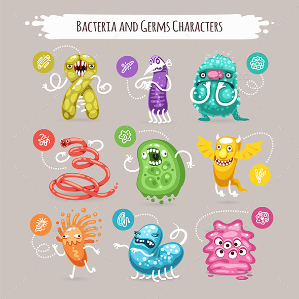 GraphicRiver Bacteria and Germs Characters Set 10597420