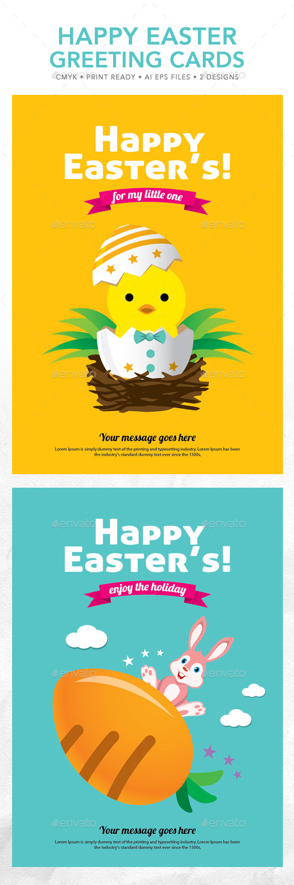 GraphicRiver Happy Easter Greeting Cards 10628467