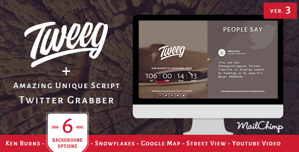 Tweeg - Responsive Countdown Landing Page