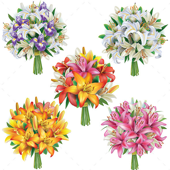 GraphicRiver Set of Lilies Bouquets 10628661