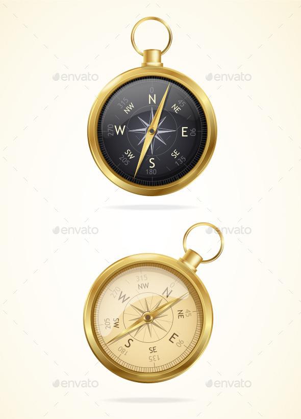 GraphicRiver Retro Style Metal Compass 10628793