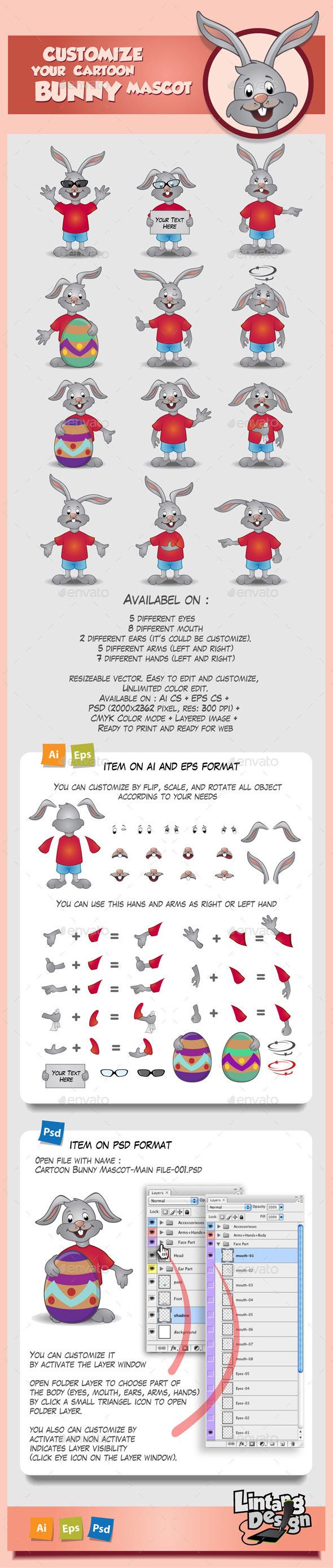 GraphicRiver Cartoon Bunny Mascot 10629102