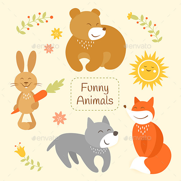 GraphicRiver Cartoon Animals Set 10629287