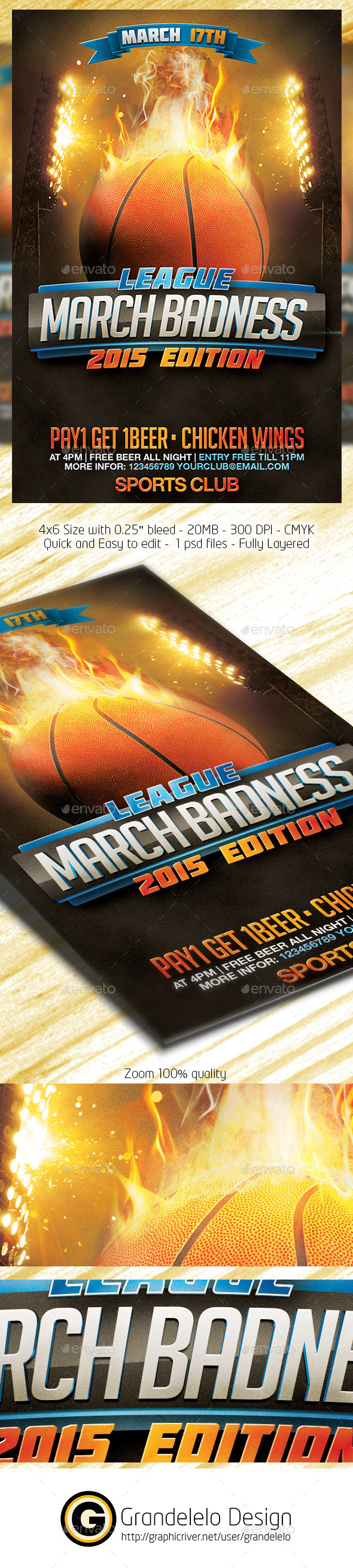 GraphicRiver March Badness Basketball Flyer Template 10629290
