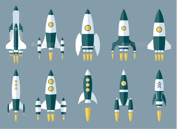 GraphicRiver Set of Various Rocket Spaceship 10629337