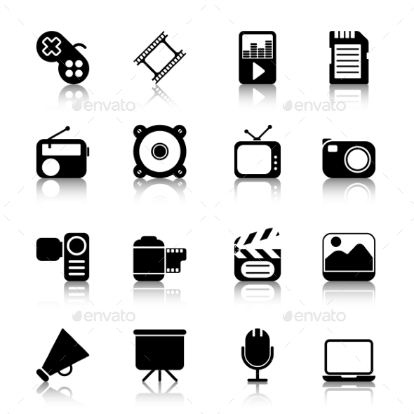 GraphicRiver Multimedia Icons with Reflection 10629486