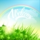 Spring Landscape with Clover and Rainbow - GraphicRiver Item for Sale