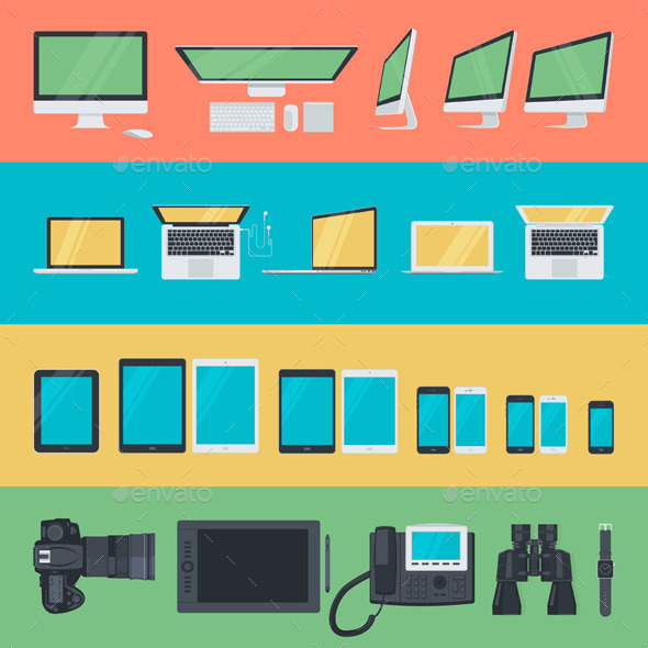 GraphicRiver Flat Design Electronic Devices Icons 10629753