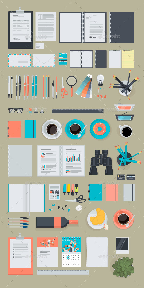 GraphicRiver Set of Flat Design Business Items 10630029