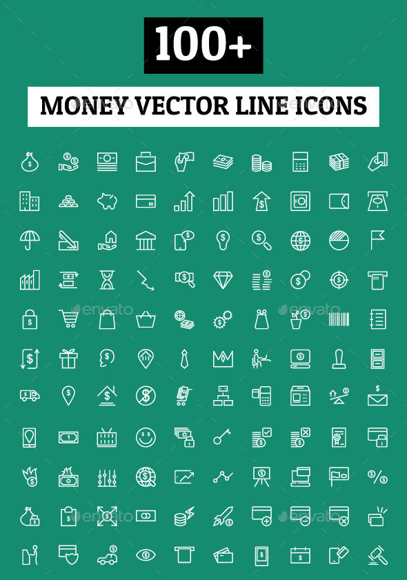 GraphicRiver 100& Money Vector Line Icons 10630232
