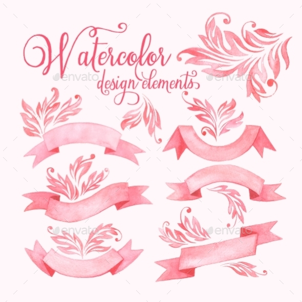 GraphicRiver Watercolor Ribbons Set 10630233