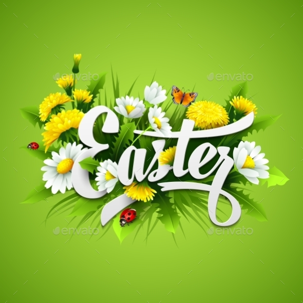 GraphicRiver Title Easter with Spring Flowers 10630255