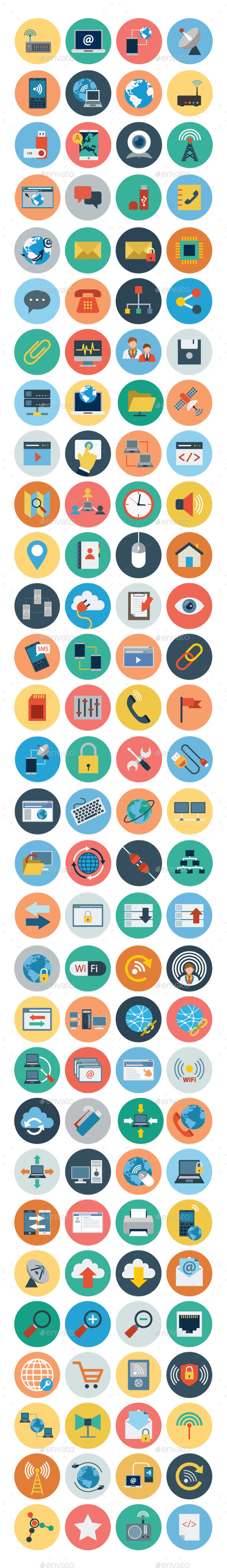 GraphicRiver 100& Internet Flat Icons 10630285