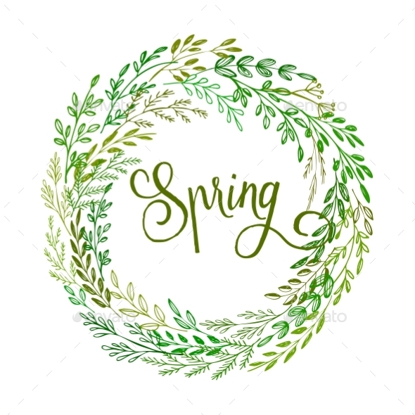 GraphicRiver Hand Drawn Spring Wreath 10630289