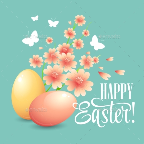 GraphicRiver Easter Card with Eggs and Flowers 10630292