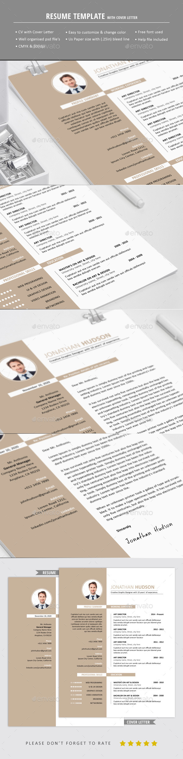 GraphicRiver Resume With Cover Letter 10551147