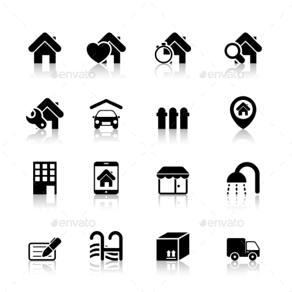 GraphicRiver Real Estate Icons with Reflection 10633679