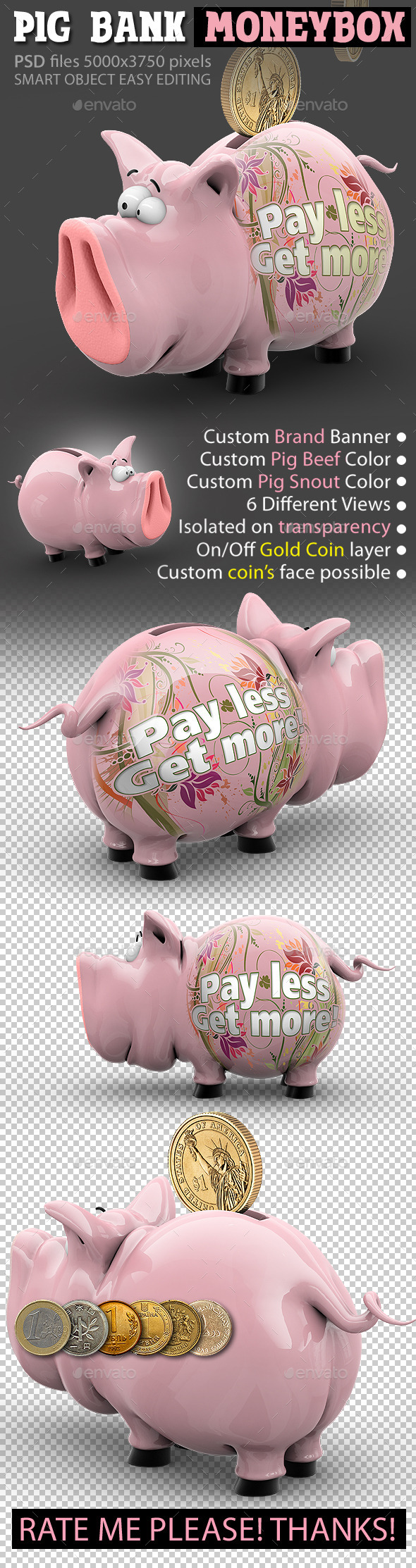 GraphicRiver Pig Bank Moneybox Piggy Thrift-Box 10634713